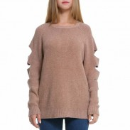Unique Women's Ripped Sleeves Simple Pure Whole Color Sweater