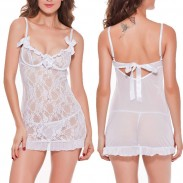 Sexy White Flowers Lace Mesh See Through Bow Low-cut Slim Silp Dress Women's Lingerie