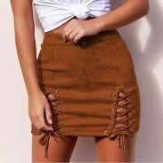 Sexy Suede Bandages Hip Bust Short Lady Skirt