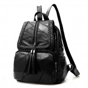 Leisure Black Leather School Bag Large Weave Tassel Women's College Backpack