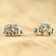 Retro Handmade Cute Elephant Silver Women Bohemian National Style Earring Studs