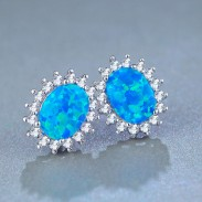 Creative Stainless Steel Round Blue Gem Cubic Bohemia Women's Earring Studs