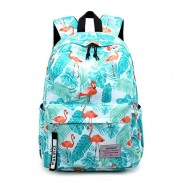 Fresh Crane Flower Feather Pony Banana leaves Oxford Waterproof Student Backpack