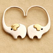 Fashion Cute Elephant Nose Hang Animal Silver Women Earring Studs Eardrop