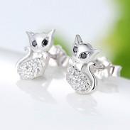 Fashion Retro Cute Cat Diamond-bordered Kitty Silver Women Animal Earring Studs
