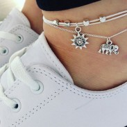 Leisure Elephant Sun Three Tier Multi-layer Ladies Anklet Foot Accessory Anklet