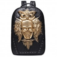 Punk PU 3D Skull Owl Rivets Large Rivet Travel Animal Backpack