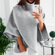 Leisure Warm Irregular Long Sleeve High Collar Women Sweater Coat