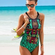 Sexy Green Leopard Retro Totem One-piece Women Bikinis Swimsuit