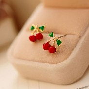 Cute Green Leaves Red Cherry Women Earrings Studs