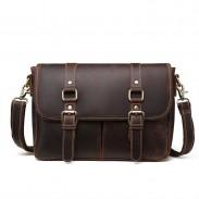 Retro Men's Handbags Double Buckle Leather Business Bag Original Briefcase Shoulder Bag