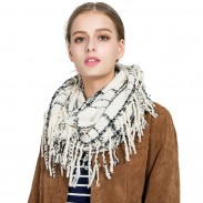 Unique Grid Warm Scarf Tassel Women Winter Autumn Scarf