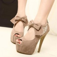 Sexy Hollow Lace Bow Platform Peep Toe High Heel Shoes