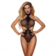 Sexy Embroidery Floral Halter One Piece Women's Bodysuit Lingerie See Through Sheer Mesh Teddy Lingerie