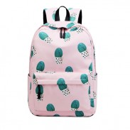 Fresh Cactus Print Water Resistant High Student Backpack Junior School Bag College Backpack