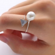 Fashion Plastic Pearl Crystal Triangular Diamond-bordered Open Ring