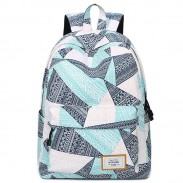 Unique Geometric Pattern Printing Waterproof Large Capacity Girl's Canvas School Backpack