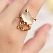 Cute Opal Cat Index Finger Opening Ring