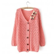 Sweet Bow Hollow Loose Sweater & Cardigan