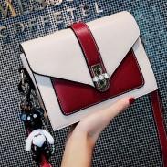 Leisure Diamond Buckle Messenger Bag Contrast Color Women Shoulder Bag