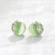 Unique Green Opal Cat Eyes Hollow Pattern Silver Earrings Studs