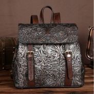 Vintage Handmade Real Leather Double Buckle Flower 3D Embossing School Backpack