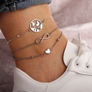 Creative Fashion Map Love Heart Lucky Anklet Foot Accessory Anklet
