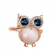 Cute Owl Opal Opening Animal Crystal Ring