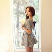 Elegant Plaid Halter Bow Slim Dress