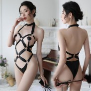 Sexy Iron Ring Tied Up Patent Leather SM Cosplay Temptation Conjoined Teenage Hot Lingerie