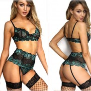 Sexy Hot Lace Hollow High Waist Bra Panty 2 Piece Set Underwear Babydoll Bodysuit Lingerie