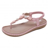 New Summer Shoes Metal Buckle Rhinestone Retro Flat Shoes Beach Shoes Women's Sandals