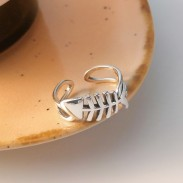 Fashion Fish Bone Hollow Jewelry Gift For Her Silver Open Ring