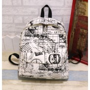 Harajuku Style Canvas Graffiti Map Casual Backpack &Schoolbag