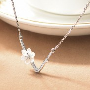 Sweet V Shape Imitating Branch Lines Shell Cherry Flower Pendant Clavicle Chain Necklace