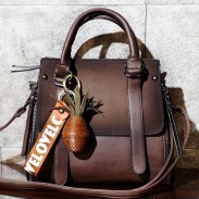 Retro Frosted Belt Large Capacity Handbag Splicing PU Shoulder Bag