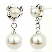 Fashion Pearls Ear drop Graceful Ear Clip Diamond-bordered Pearls Silver Women Earring Studs