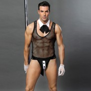Sexy Butler Appeal Underwear Fishing Net Perspective Night Club Bar Waiter Man Teddy Bodysuit Lingerie