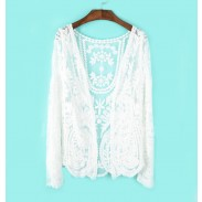 Sweet Crochet Lace Long-sleeved Cardigan&Sunscreen Shawl