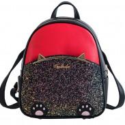 Lovely Cartoon Cat Ear Cartoon Sequin Kitten Foot PU Women School Backpack
