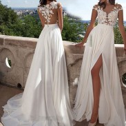 Fashion Split Evening Dress Mesh Perspective Prom  Sexy Lace Long Bridesmaid Dress