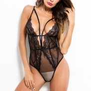 Sexy Lace Hollow Splice Deep V One-piece Underwear Conjoined Women's Lingerie