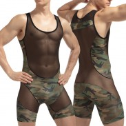 Sexy Lingerie For Man See Through One-Piece Vest Camouflage Mesh Stitching Jumpsuit Undershirts Lingerie