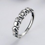 Cute Elephant Splice Hollow Silver Charm Jewelry Gift For Her Silver Animal Open Ring