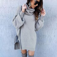 Fashion Pure Color Autumn Winter Loose Long Turtleneck Sweater Dress Women Coat