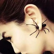 Unique Punk Style Vivid Big Black Spider Animal Earring Studs
