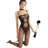 Sexy Elegant Jacquard Flower One-piece Open Socks Stockings Conjoined Women Intimate Lingerie