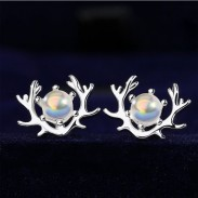 Original Moonstone Elk Antlers Earring Studs Silver Female Simple Creative Student Earring