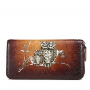 Retro Phone Purse Cowhide Owl Branch Long Wallet Large Handmade Clutch Bag