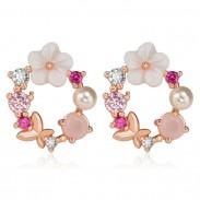 Cute Flower Earrings Pearl Crystal Bow Wreath Earring Studs